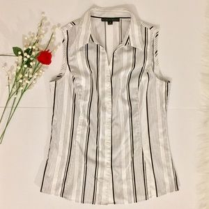 Antonio Melani Vertical Stripes Sleeveless Blouse